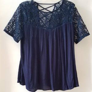 Tops - Gorgeous Blue Floral Crochet Blouse